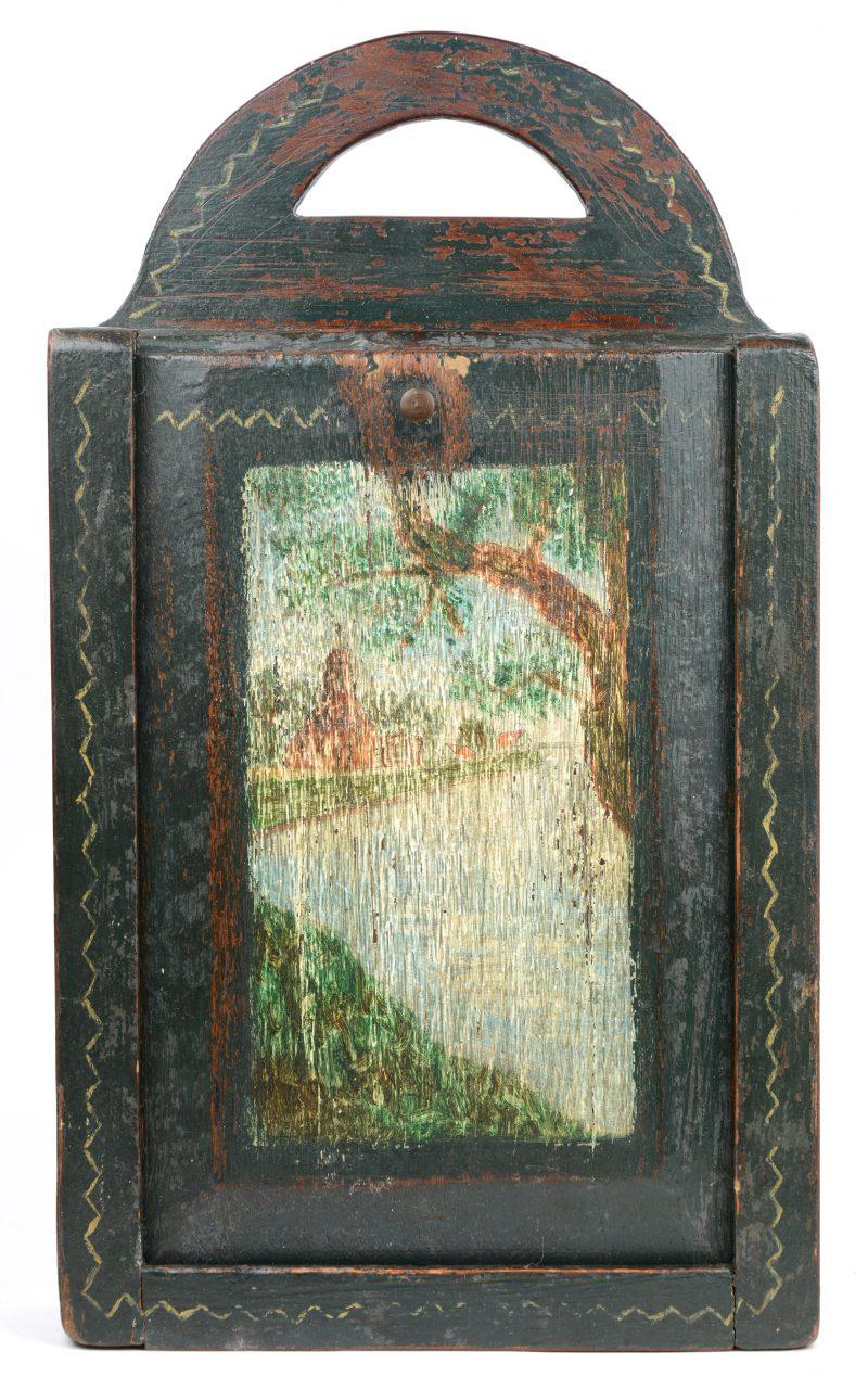 Een beschilderd houten boekentasje. Vroeg XIXe eeuw.
