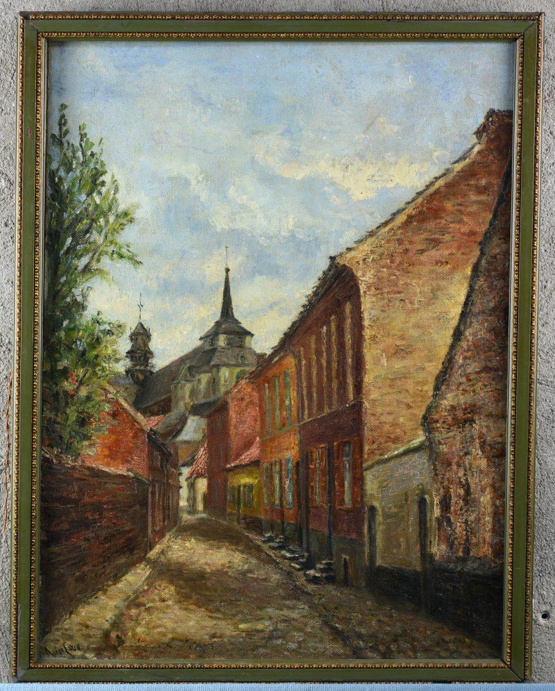"""""""Zicht op de Schuttershofstraat te Diest"""". Olieverf op doek. Gesigneerd en gedateerd 1934."""