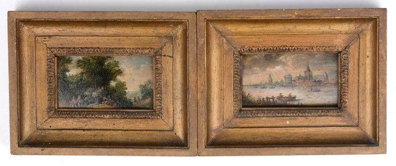 """""""Vissers voor en stad bij het water"""" en """"Jagers in het bos"""". Olieverf op dennenhouten paneel. Waarschijnlijk Hollandse en/of Vlaamse School omstreeks 1700."""