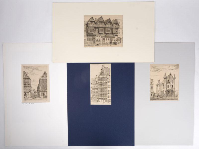 Een reeks van vier gravures uit het 'Album historique de la ville d'Anvers', bestaande uit een zicht op de Grote markt, de Stoelstraat, het Sint Walburgisplein en het Vleeshuis.