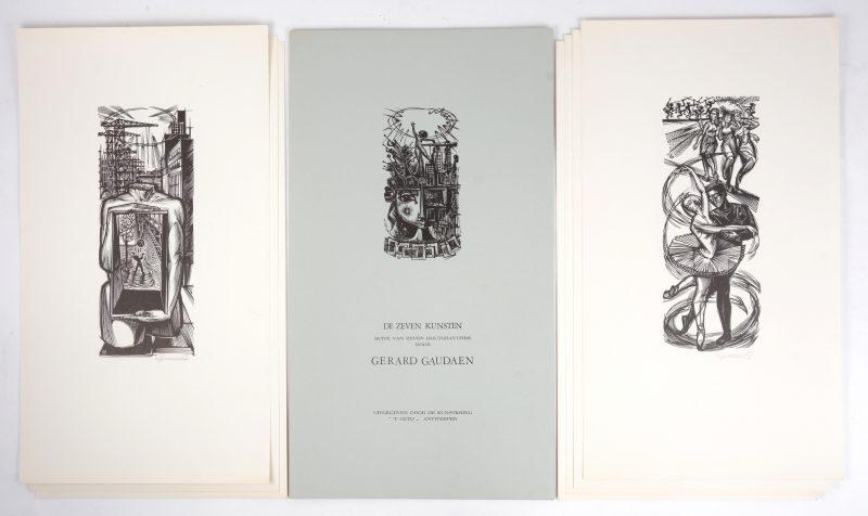 """""""De zeven kunsten"""". Een reeks van zeven houtgravures in map, uitgegeven door kunstkring """"'t Getij"""" te Antwerpen. Allen gesigneerd buiten de plaat."""