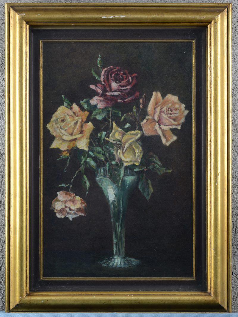 """""""Stilleven met rozen"""". Olieverf op doek achter glas. Zonder signatuur."""