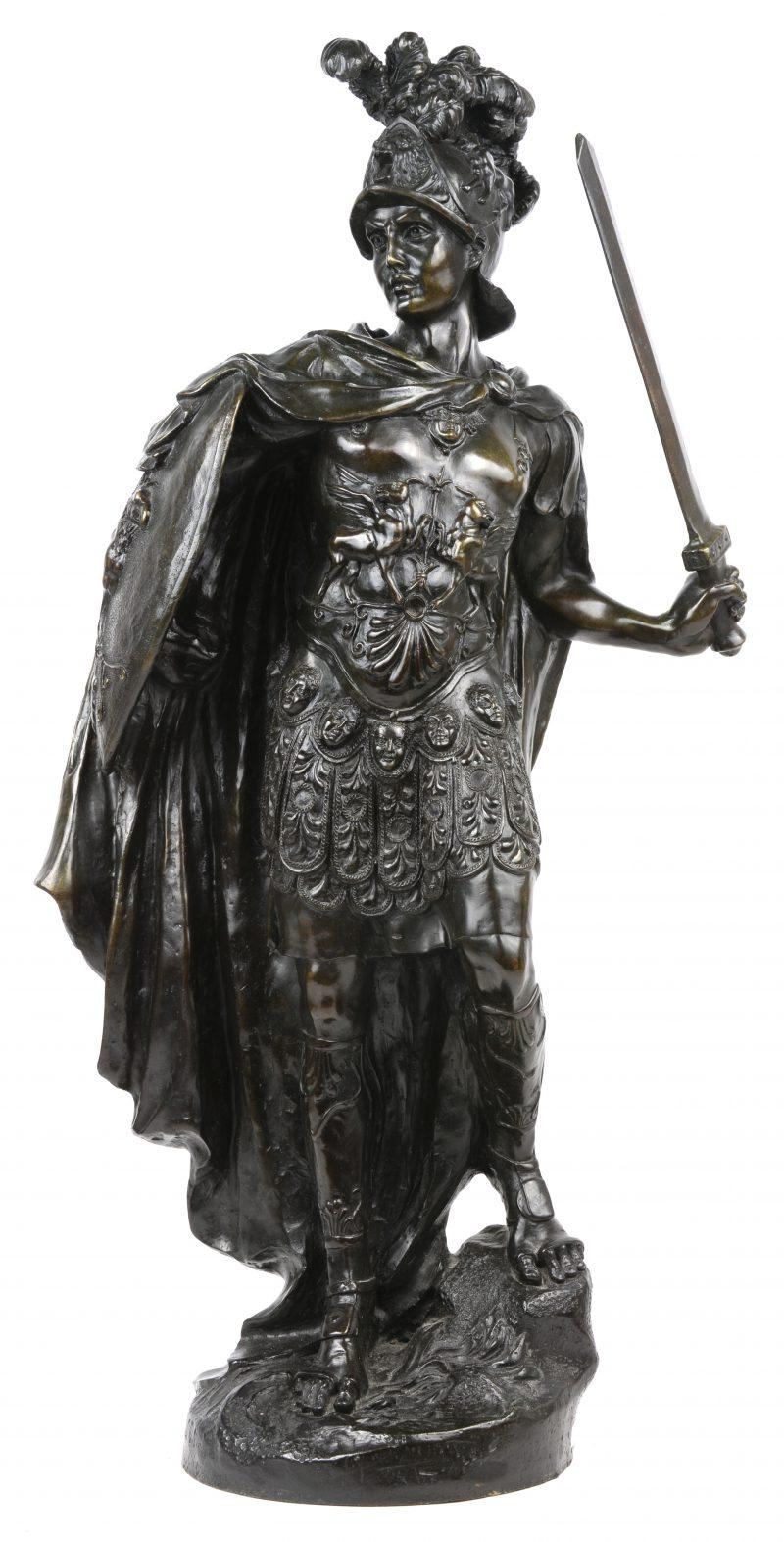 """""""Romeins centurion"""". Een bronzen beeld naar een werk van A. Carrier."""