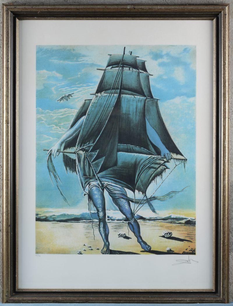 """""""Het Schip"""". Zeefdruk naar Dali. Gesigneerd en genummerd 16/300 buiten de plaat."""