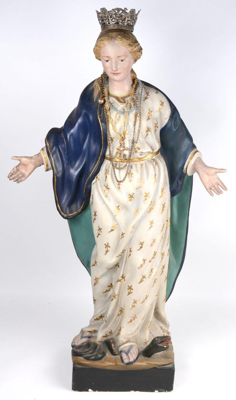 Een gepolychromeerd beeld van Maria met slang onder haar voet. Met zilveren kroontje.