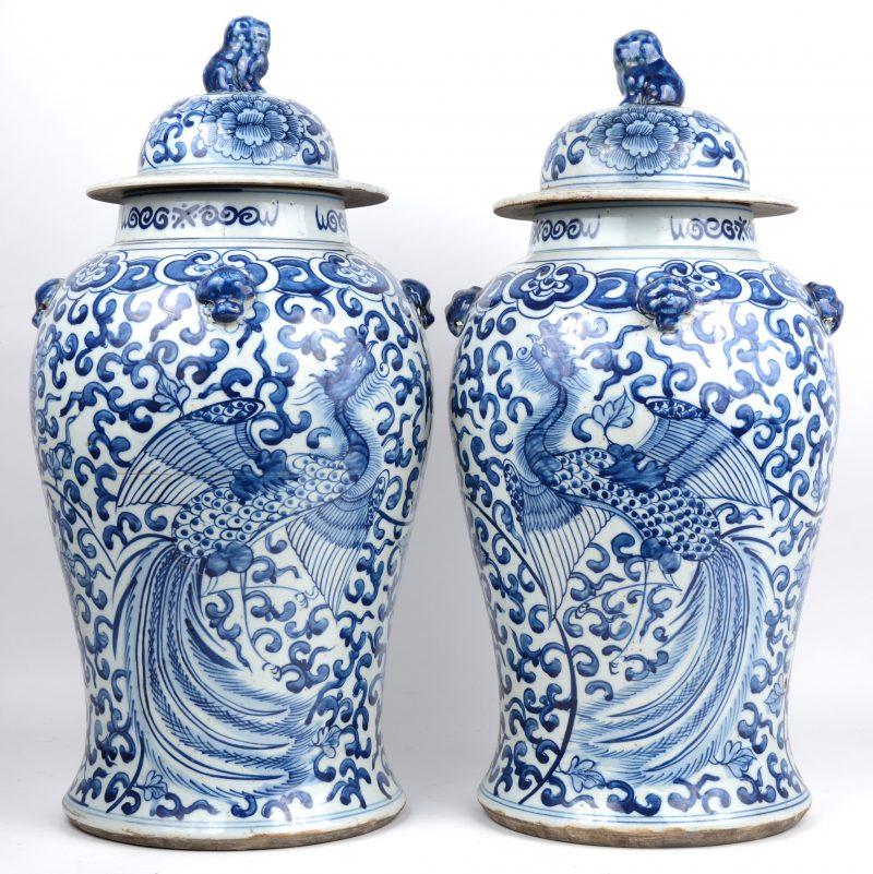 Een paar dekselvazen van Chinees porselein met een blauw op wit decor van paradijsvogels en bloemen en de deksels getooid met Fo-honden.