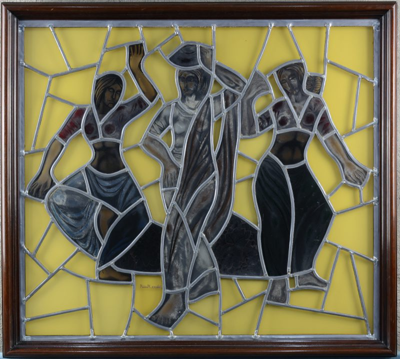 Dansende vrouwen. Glasraam. Gesigneerd.