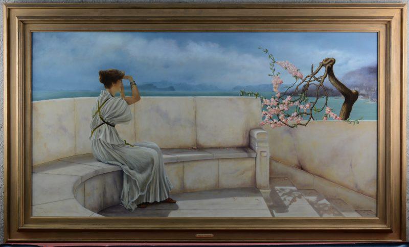 """""""Wachtende dame"""". Olieverf op paneel. Gesigneerd. Geïnspireerd op een werk van Alma Tademan."""