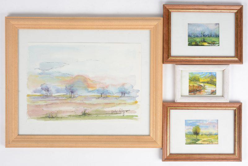 Vier landschapjes, aquerel op papier. Allen gesigneerd.