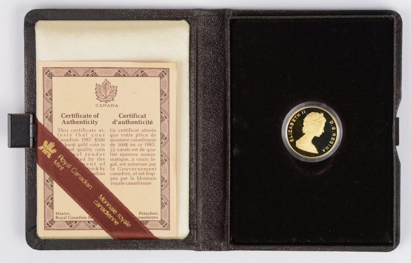 1 gouden munt van 100 CAD. St. John's Newfoundland. Au 917/1000. Canada, 1983. Recto: Queen Elizabeth II, verso: anker, schip en gebouw. In etui en certificaat van Royal Canadian Mint.