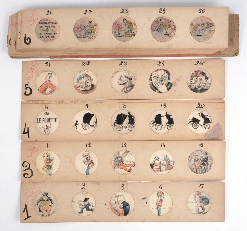Een zeldzame reeks handgetekende prenten voor een toverlantaarn. Omstreeks 1900.