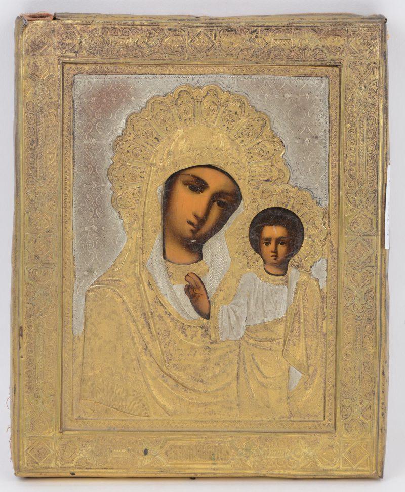 """""""Moeder Gods van Kazan"""". Een Russich icoon met messingen oklad."""