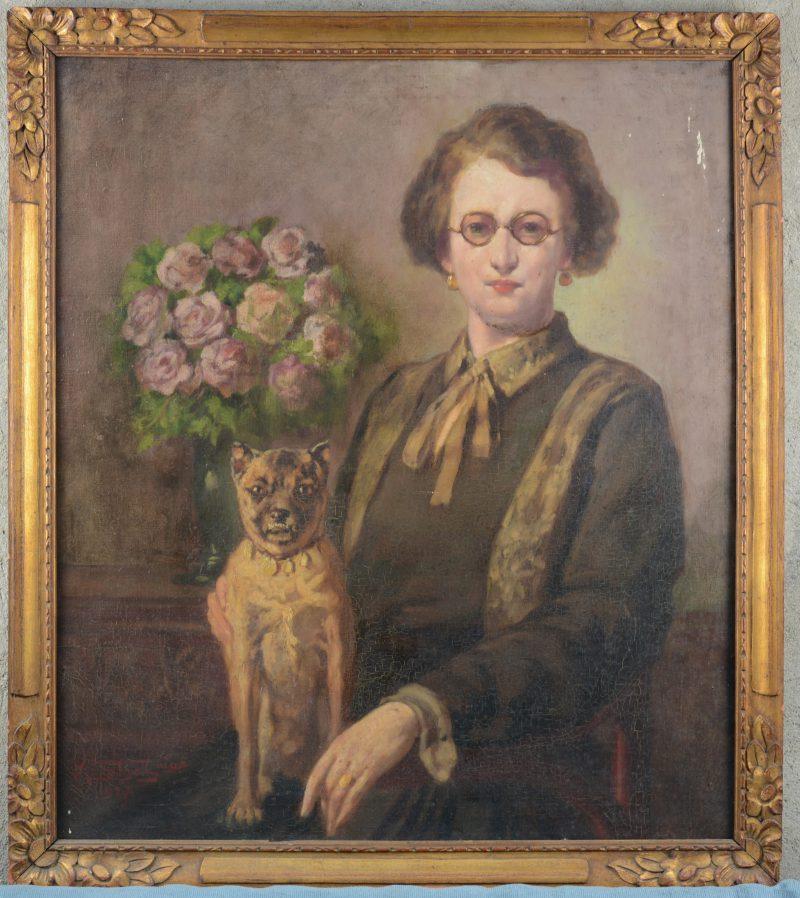 """""""Portret van een dame met hond"""". Olieverf op doek. Gesigneerd en gedateerd 1927. Verfschade rechts boven in neutrale zone."""
