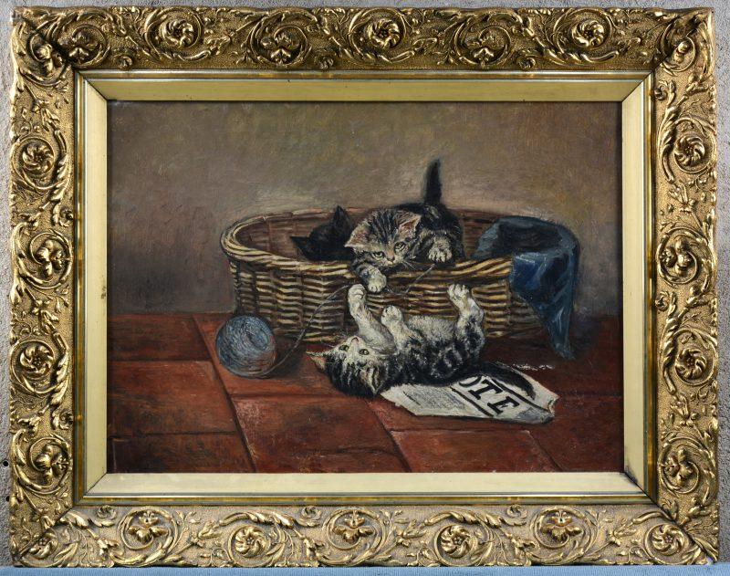 """""""Spelende katjes"""". Olieverf op doek. Restauratie en beschadiging."""