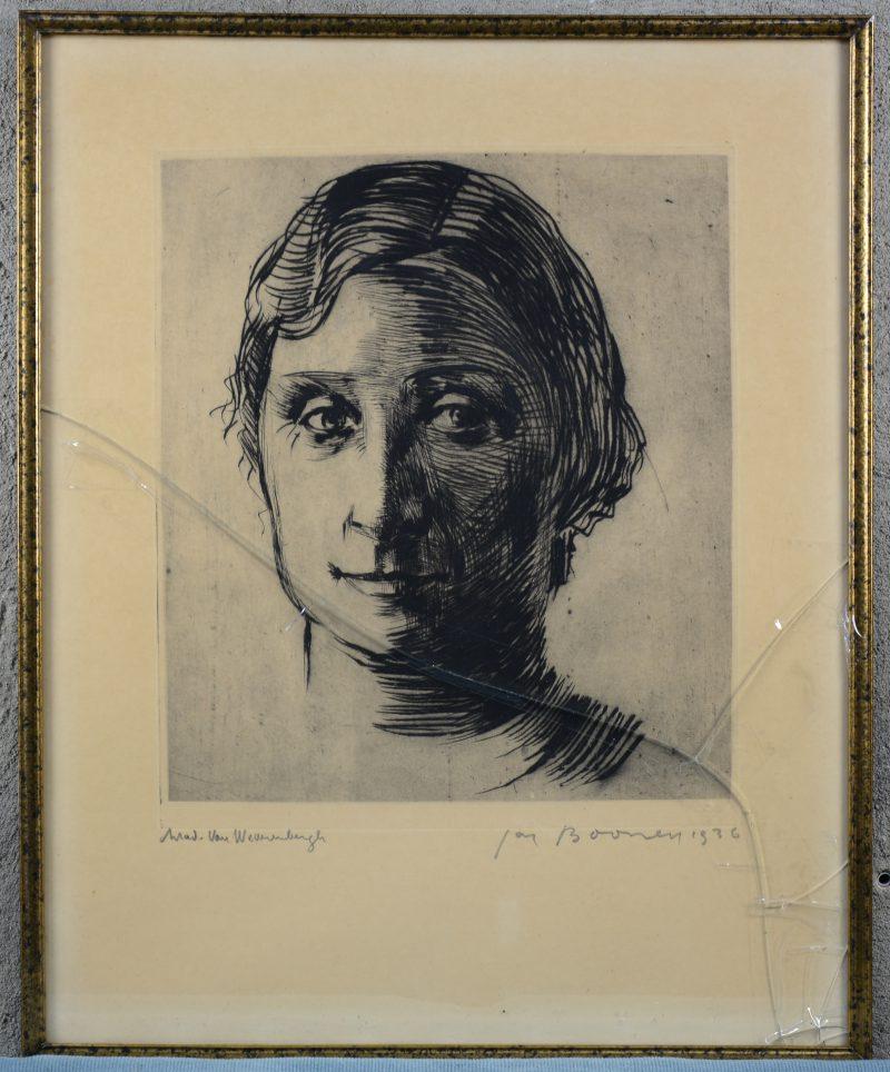 """""""Portret van Mevr. van Weverenbergh"""". Een lithografie. gesigneerd eb gedateerd 1936 buiten de plaat. Glas te vervangen."""