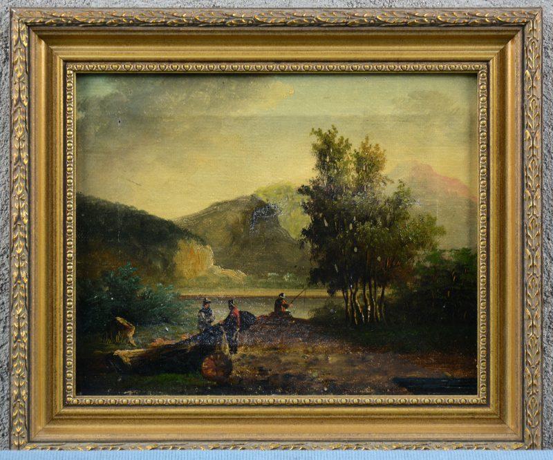 """""""Personages in een rivierlandschap"""". Olieverf op doek. Hollandse school, XVIIIe eeuw. Te restaureren."""