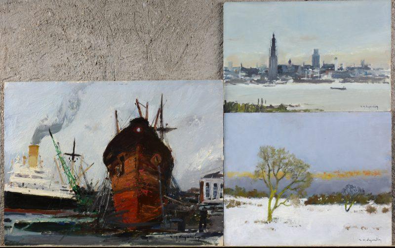 """""""De rede van Antwerpen""""; """"Winters landschap"""" & """"Scheepswerf"""". Drie olieverfschilderijtjes op board. Alledrie gesigneerd."""