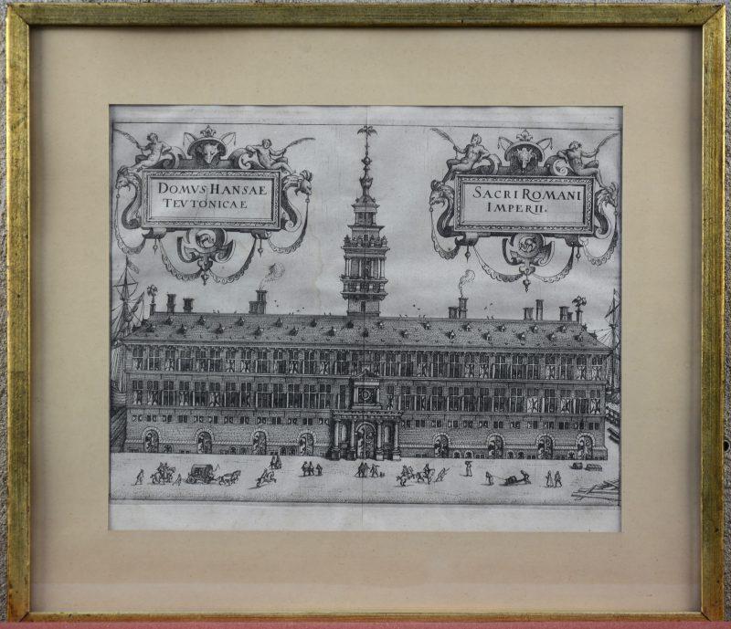 """""""Domus Hansae Teutonicae - Oosterhuis, Antwerpen"""". Een gravure van Joan Blaeu."""