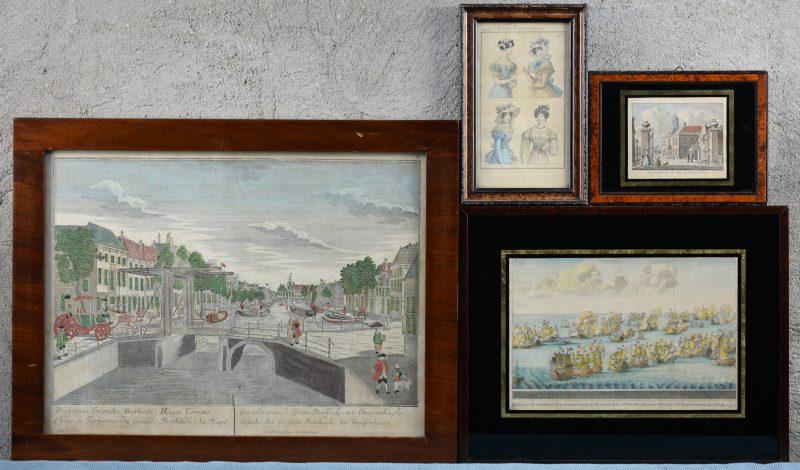 Een lot van vier ingekleurde gravures:- Costumes allemand et françois. (18,5 x 10,5 cm)- 'T Regthuis in de Diemermeer. (8,5 x 10,5 cm)- Zeeslag tusschen de gecombineerde Spaansche en Fransche en het Engelsch esquader den 22 februari 1744. (17 x 25 cm)- Gezicht van de grote bierkade, tot Gravenhaghe.