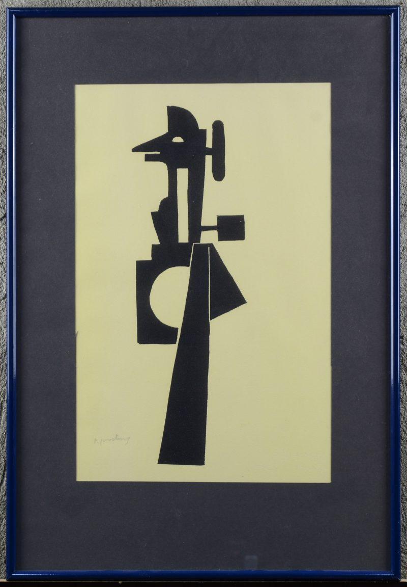 """""""Kubistische compositie"""". Een lithografie. Gesigneerd buiten de plaat."""