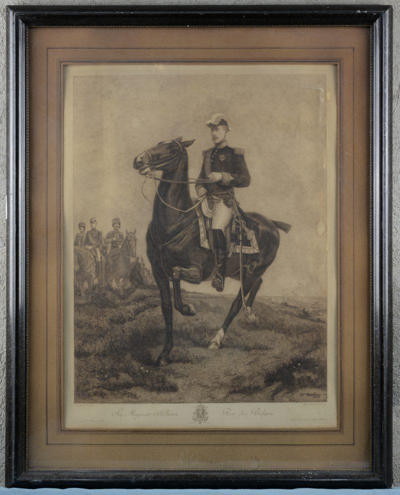 """Sa Majesté Albert, Roi des Belges"". Een lithografie door Charles Bernier naar Detilleux."