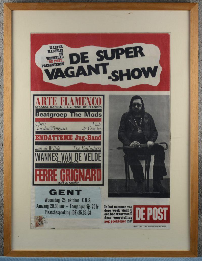 """""""De Supervagant show"""". Een oude affiche voor een voorstelling te Gent, georganiseerd door weekblad De Post. 1967."""