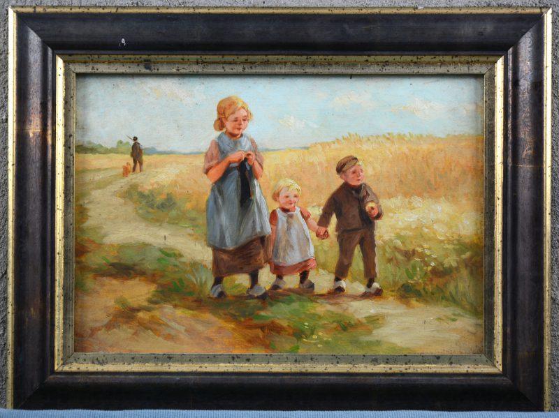 """""""Kinderen naast een korenveld"""". Olieverf op paneel."""
