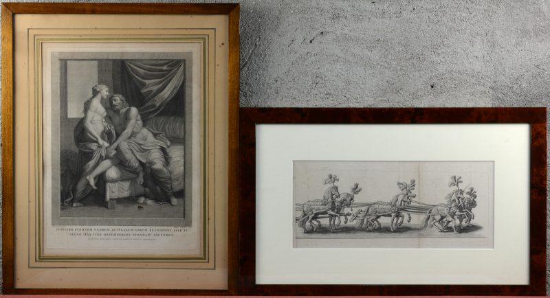 """""""Paardenspan"""" & """"Jupiter & Iona"""". Twee gravures, resp. XVIIe en XVIIIe eeuw."""