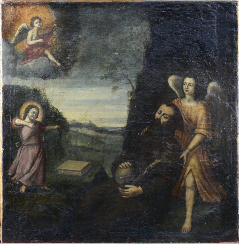"""""""De verzoeking van de Heilige Antonius"""". Olieverf op doek. Omstreeks 1700. Herdoekt."""