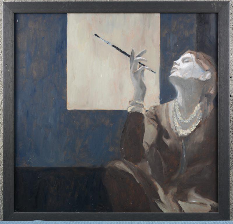 """""""Zelfportret 2008"""". Olieverf op MDF. Stempel van de artiest op de verso."""