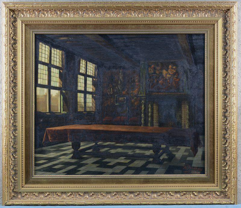"""""""Raadzaal van het Brouwershuis"""". Olieverf op doek. Gesigneerd en gedateerd  Antwerpen, 1887."""