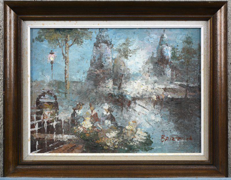"""""""Dames op een terras"""". Olieverf op doek, naar het impressionisme."""