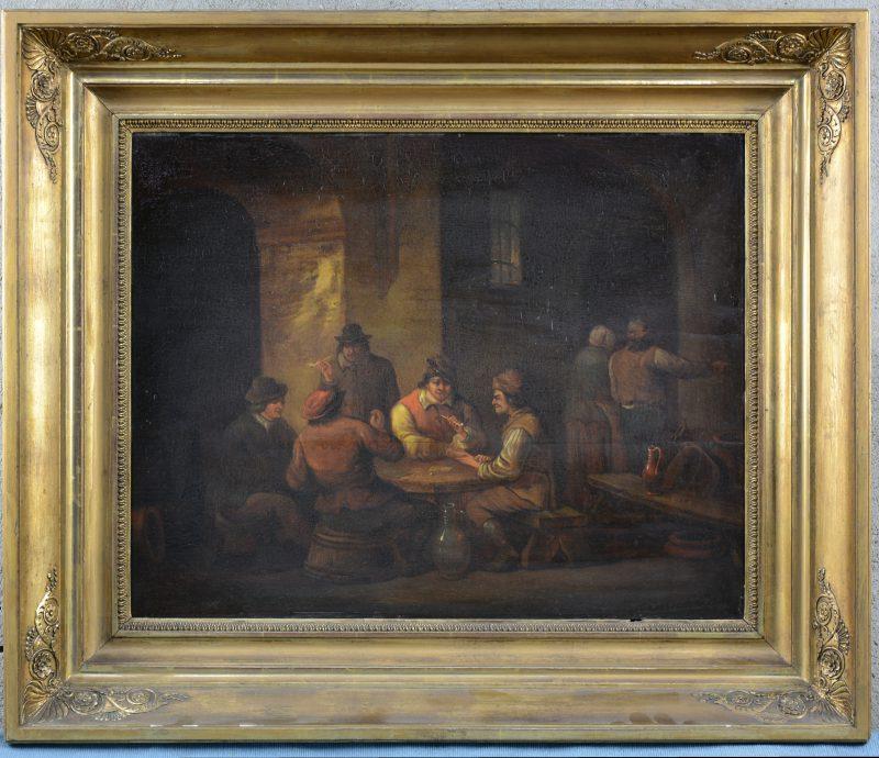 """""""Herbergtafereel"""". Olieverf op paneel. Op te frissen. Vroeg XIXe eeuw."""
