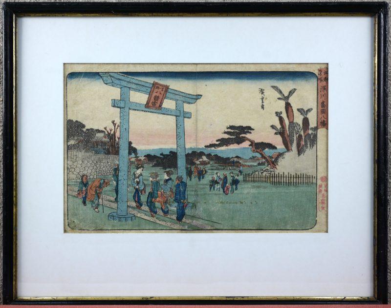"""Tomigaoka Hachiman shrine at Fukagawa"". Een japanse houtsnede uit de reeks 'Famous places in the eastern capital"". Gesigneerd. Omstreeks 1835."