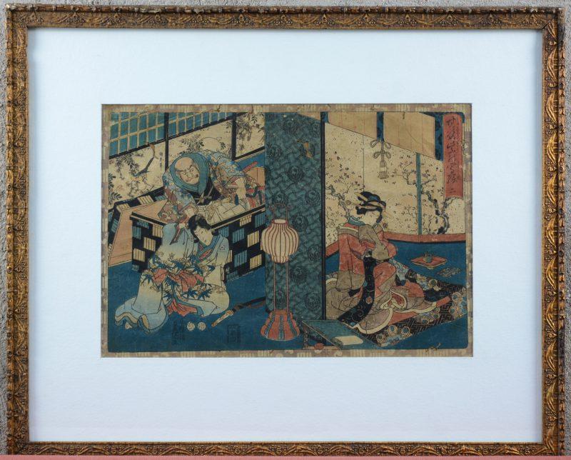 """""""The tale of Genji Monogatari"""". Een Japanse houtsnede uit een reeks toverlantaarntekeningen 'That Romantic Purple Figure'. Gesigneerd. 1847 - 1850."""