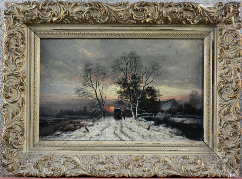 """""""Huifkar in een winters landschap"""". Olieverf op doek. Gesigneerd. Klein letsel in de linker bovenhoek."""