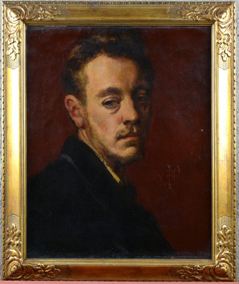"""""""Portret van André Van den Sande"""". Olieverf op doek. Gemonogrameerd."""