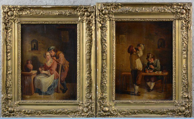 Een paar herbergtaferelen, olieverf op paneel. Vlaamse school, XIXe eeuw. Eén met lichte verfschade.