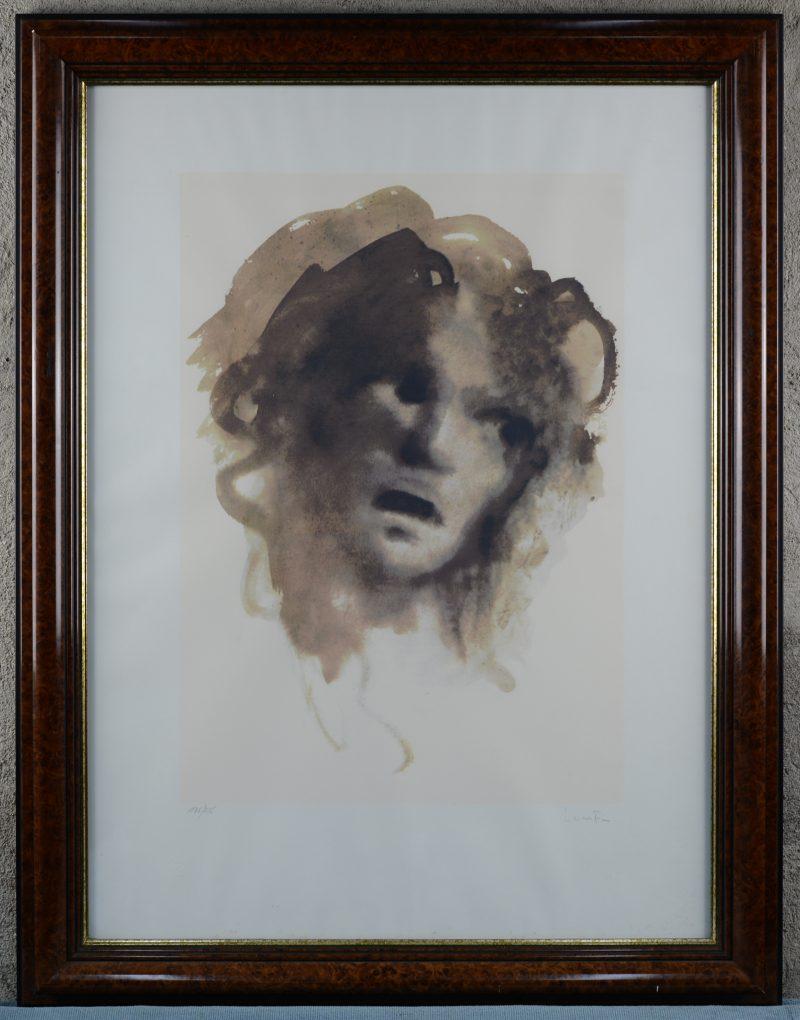 """""""Le visage"""". Een lithografie. Gesigneerd en genummerd 135/ 275 buiten de plaat."""