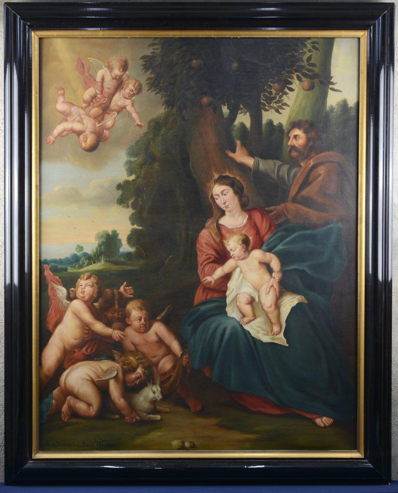 """""""De Heilige Familie met engelen. Olieverf op doek. Naar een werk van Frans Wouters"""