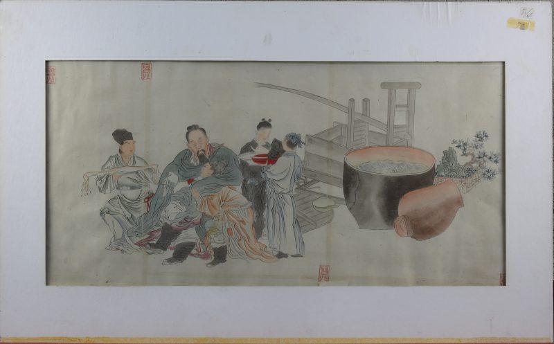"""""""Bedienden helpen de filosoof Li Po, nadat deze dronken is geworden van wijn"""". Een gekleurde Japanse houtsnede. Gesigneerd. Omstreeks 1820."""