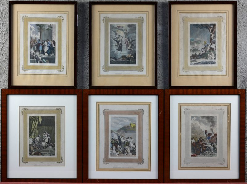 """""""Mariage d'Isaac et de Rébeca""""; """"Le déluge""""; """"L'échelle de Jacob""""; """"La tour de Babel""""; """"Abraham prend Agar"""" & """"Adoration du Veau d'or"""". Een reeks van zes ingekleurde XIXe eeuwse gravures met bijbelse taferelen."""