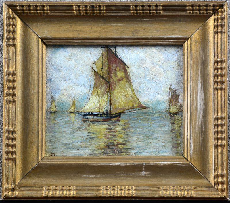 """""""Lagune van Venetië"""". Olieverf op board. Draagt monogram 'F.B.'."""