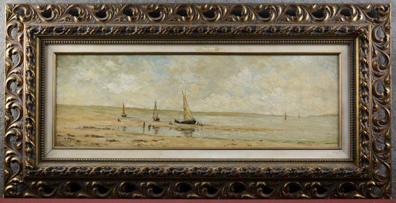 """""""Vissersboten op het strand"""". Olieverf op paneel. Gesigneerd."""