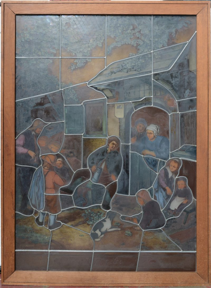 """""""De vioolspeler"""". Een glasraam in lichtbak."""