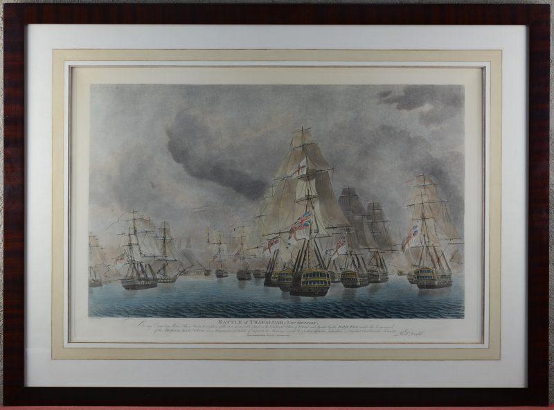 """Battle of Trafalgar"". Een Engelse lithografie."