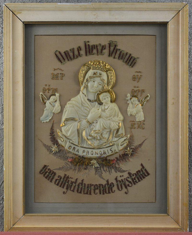 O.L.Vrouw van eeuwige bijstand. Een devotieplaat achter glas. Kleine letsels.