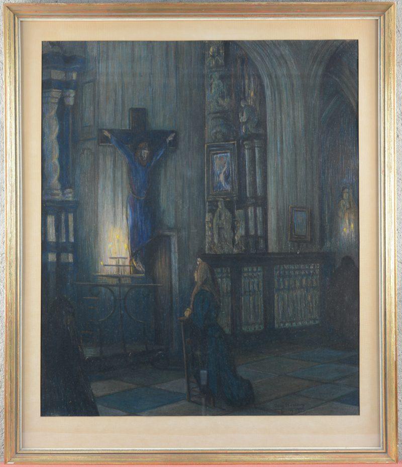 """""""Kerkinterieur"""". Een pastel. Gesigneerd en Leuven 19..."""
