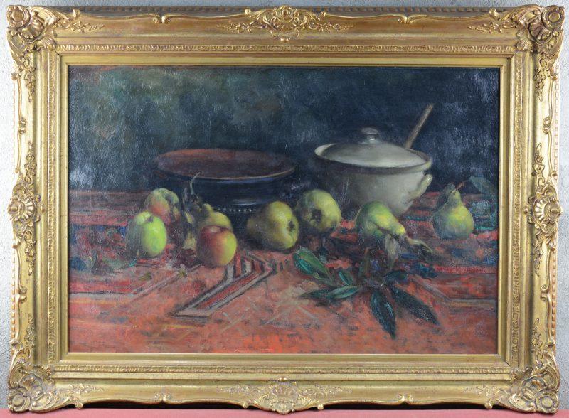 """""""Stilleven met stoofperen en -appelen"""". Olieverf op doek"""