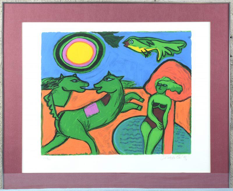 """""""Fête solaire"""". Een lithografie. Gesigneerd, genummerd 103/200 en gedateerd '96 buiten de plaat."""